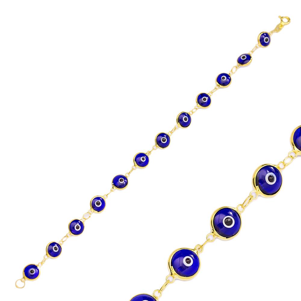 Ø8 mm Sized Navy Blue Evil Eye Design Charm Thin Bracelet Turkish Wholesale Handmade 925 Sterling Silver Jewelry