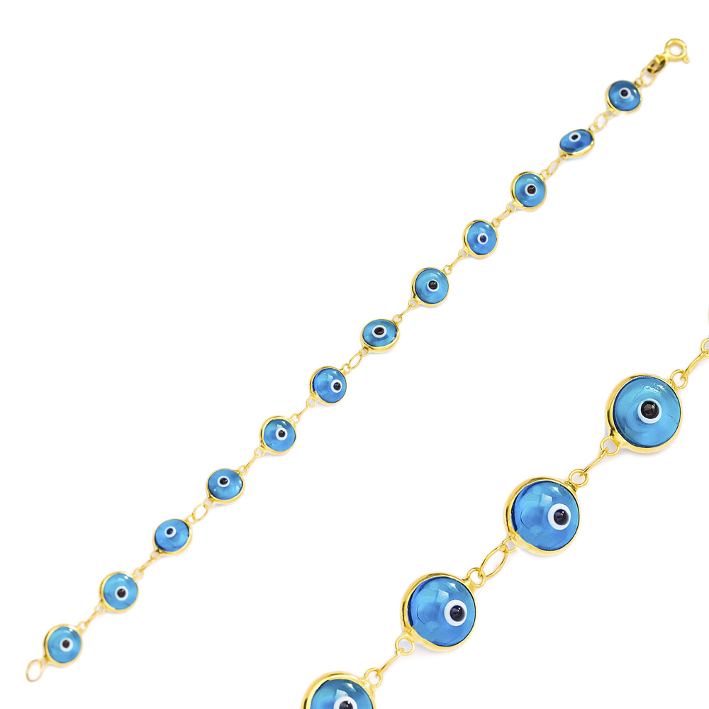 Ø8 mm Sized Turquoise Evil Eye Design Charm Thin Bracelet Turkish Wholesale Handmade 925 Sterling Silver Jewelry