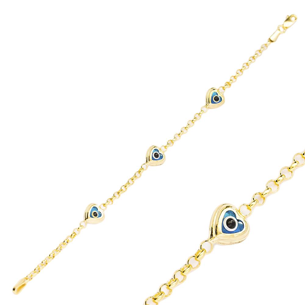 Heart Shape Evil Eye Design Charm Thin Bracelet Turkish Wholesale Handmade 925 Sterling Silver Jewelry