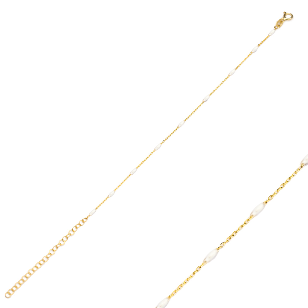 White Enamel Chain Bracelet Turkish Wholesale 925 Sterling Silver Jewelry