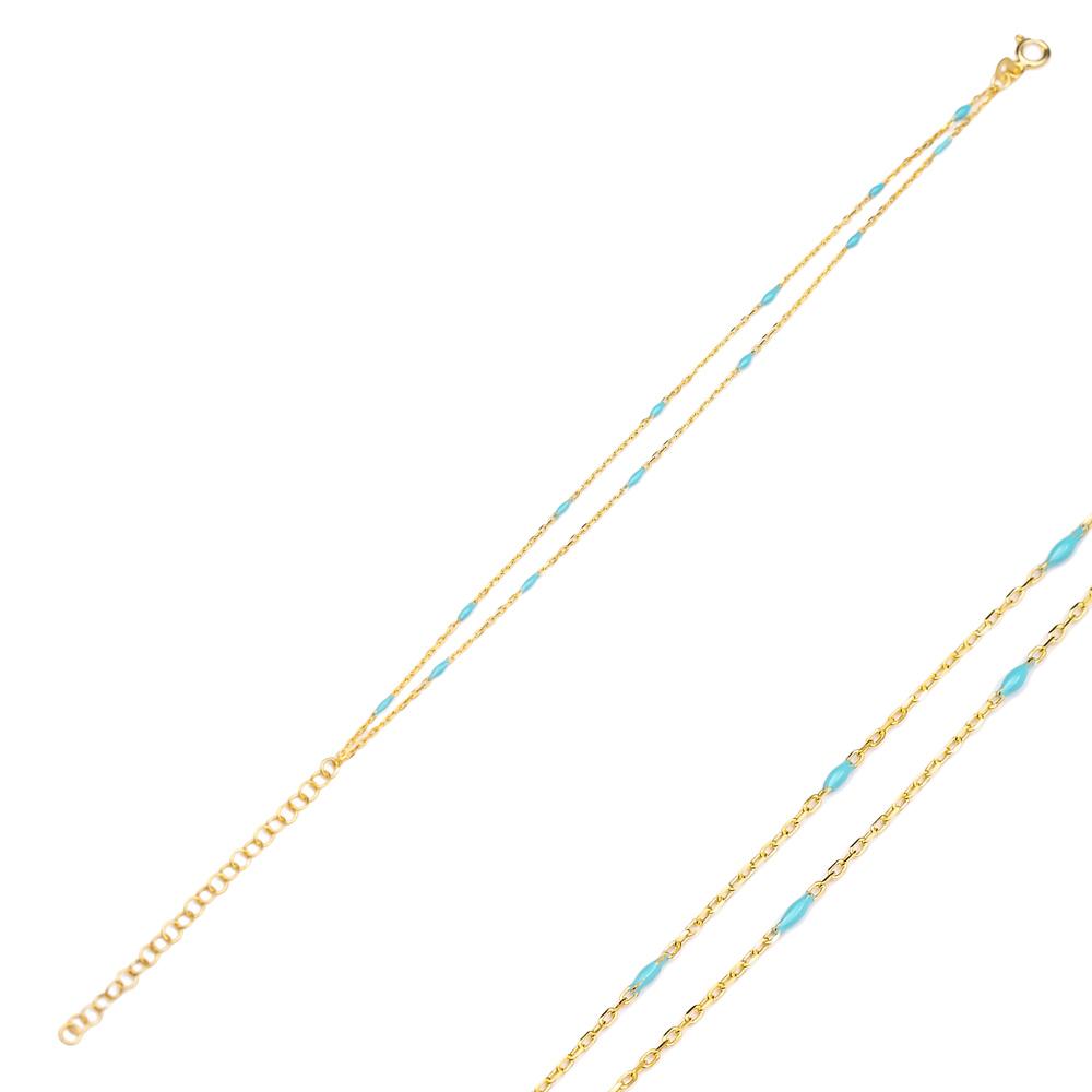 Blue Enamel Chain Bracelet Turkish Wholesale 925 Sterling Silver Jewelry