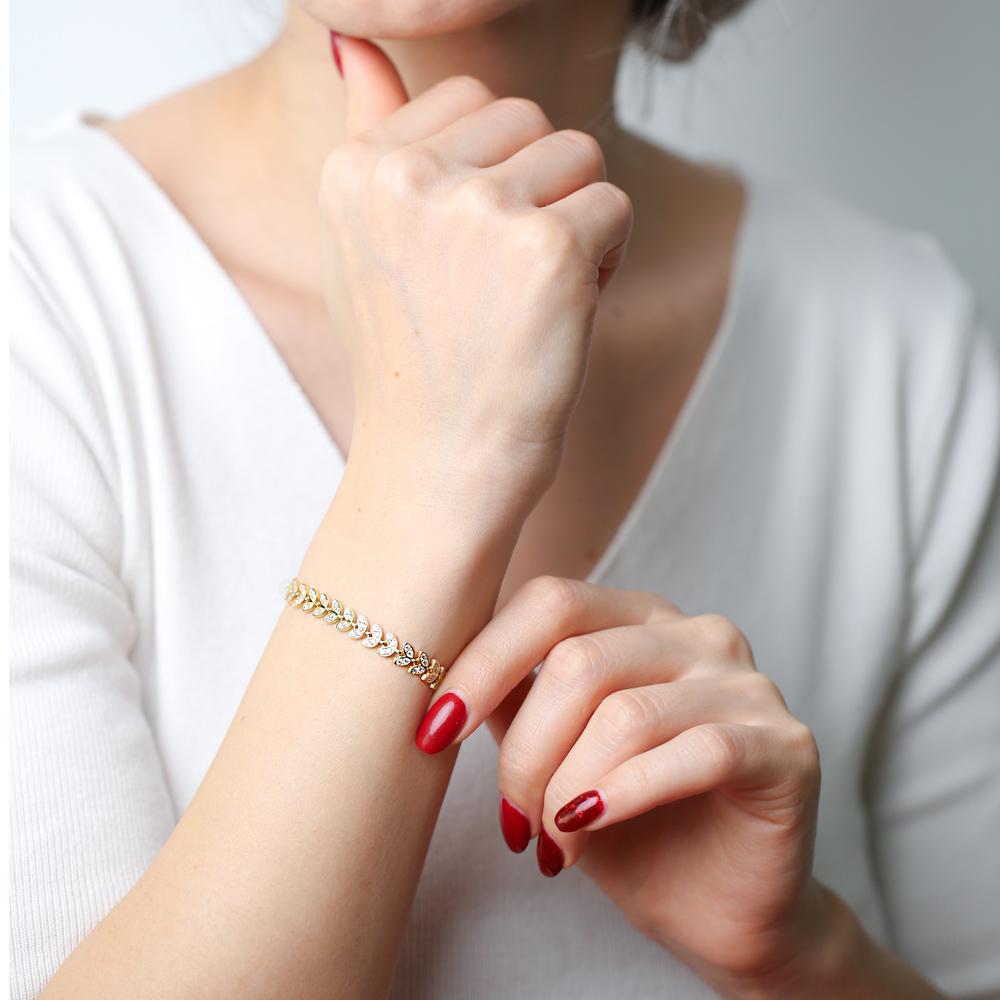 Palm Design Charm Zircon Bracelet Wholesale 925 Sterling Silver Jewelry