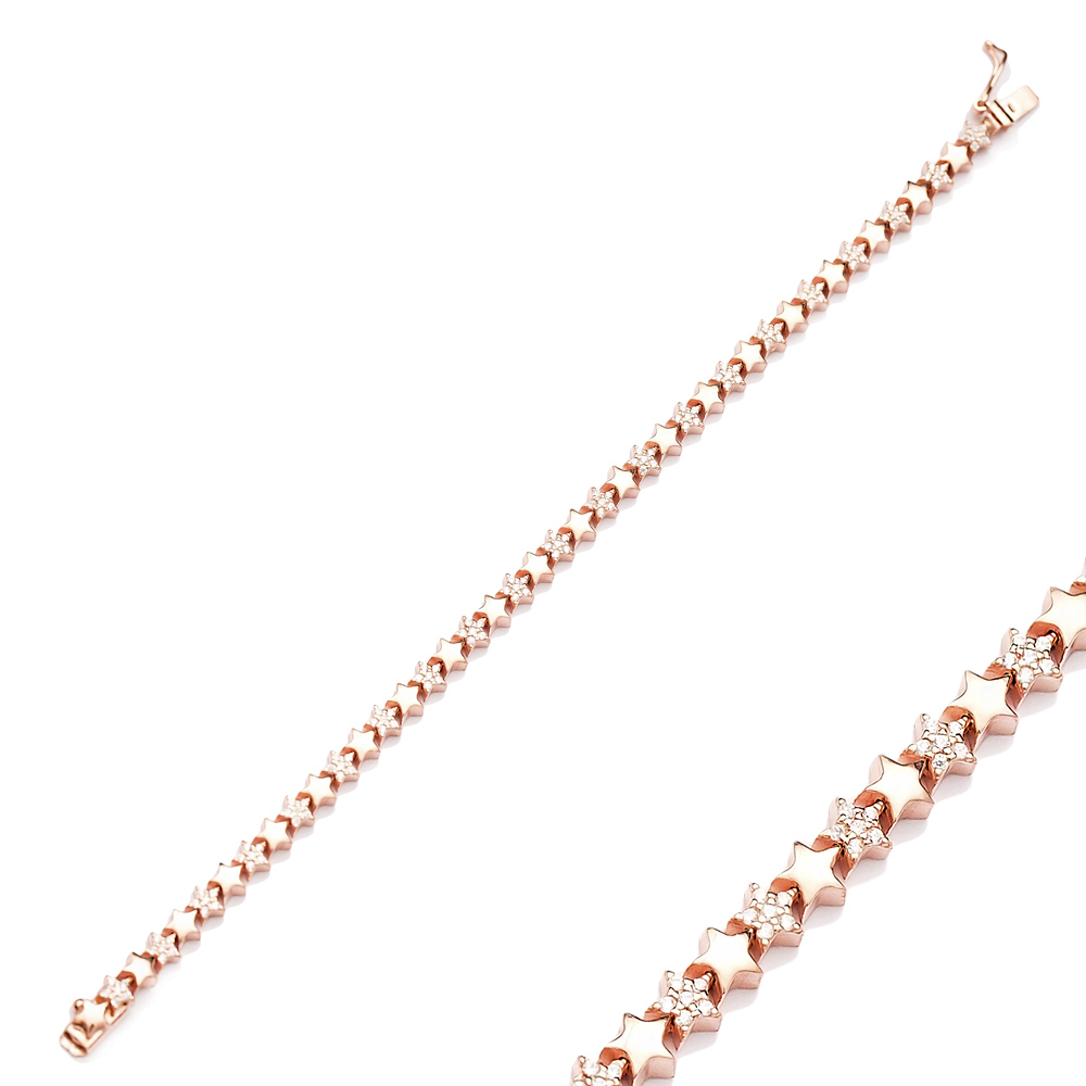 Trendy Star Design Silver Charm Bracelet Wholesale Turkish 925 Sterling Silver Jewelry