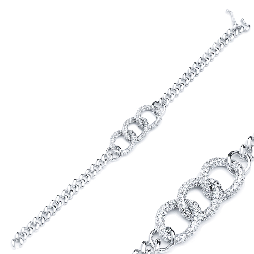 Zircon Trendy Chain Charm Dainty Bracelet Wholesale Turkish 925 Sterling Silver Jewelry