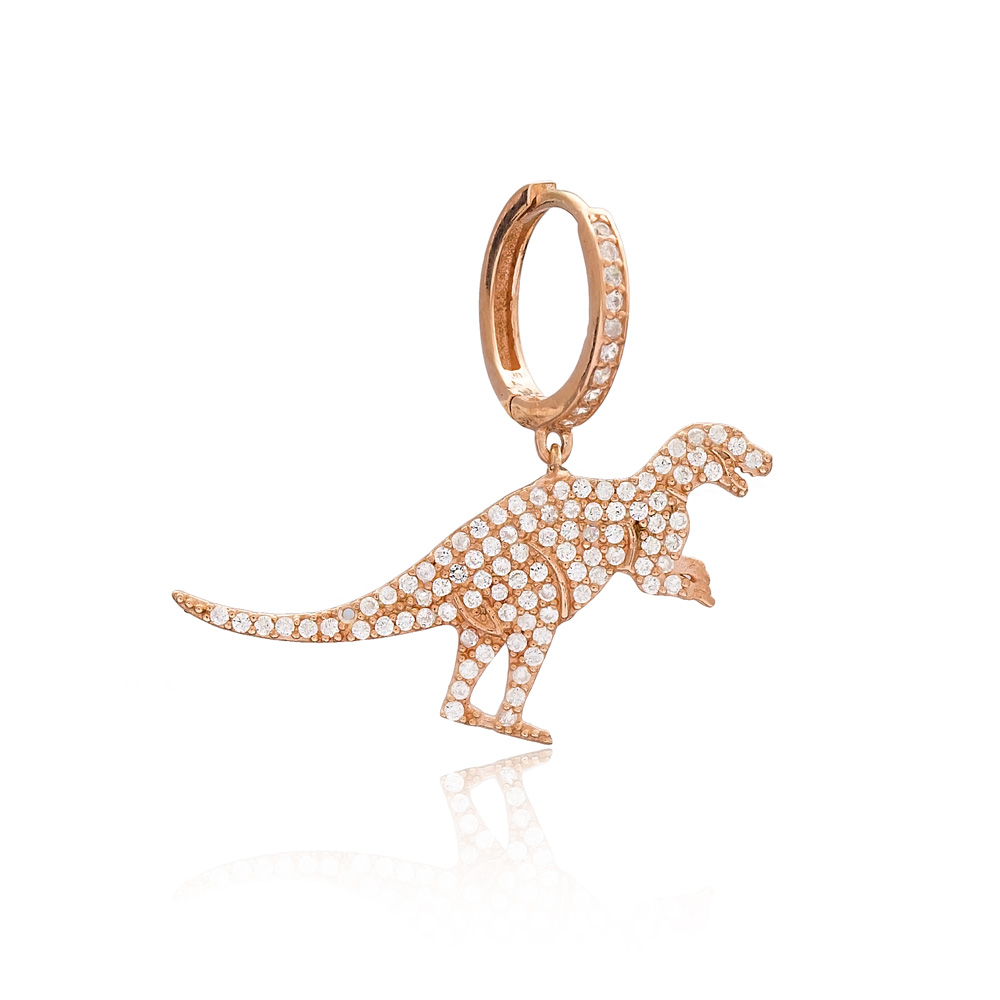 Dinosaur Design One Sided Dangle Earring, Turkish Wholesale 925 Sterling Silver Earring