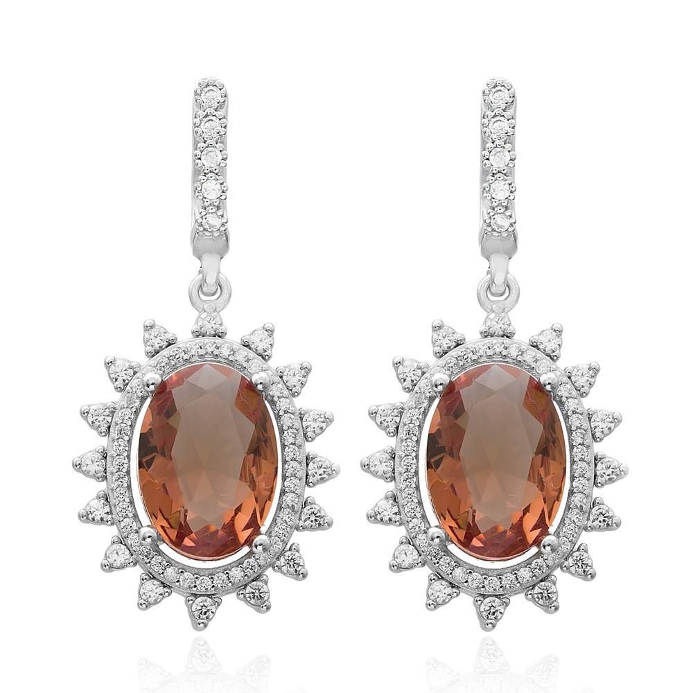 New Fashion Oval Shape Zultanite Stone Earrings Turkish Wholesale 925 Sterling Silver Jewelry