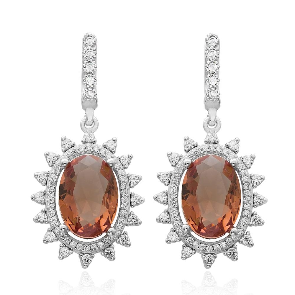New Fashion Oval Shape Zultanite Stone Earrings Turkish Wholesale 925 Sterling Silver Jewelry