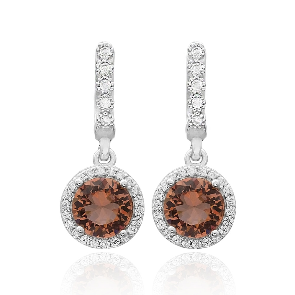 Round Shape Zultanite Stone Earrings Turkish Wholesale 925 Sterling Silver Jewelry
