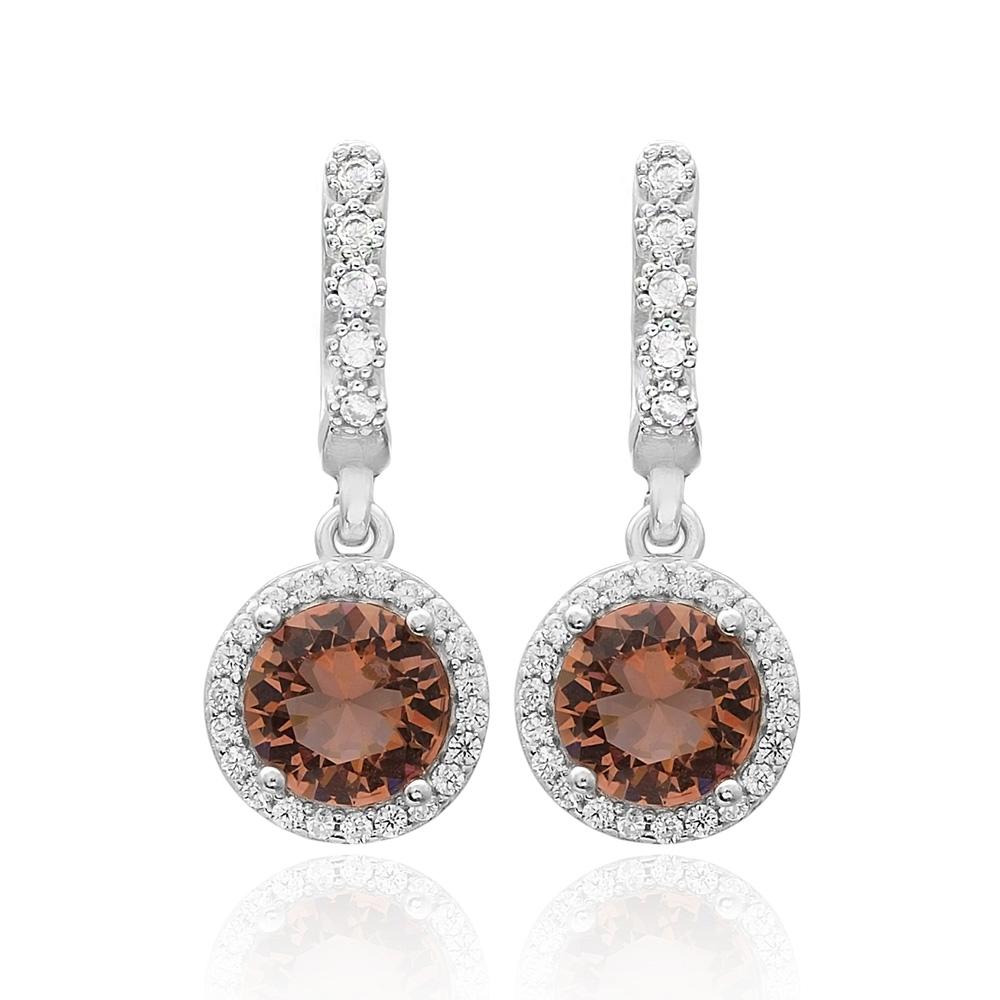Round Shape Zultanite Stone Earrings Turkish Wholesale 925 Sterling Silver Jewelry