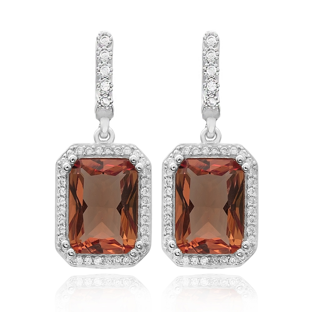 Rectangle Shape Zultanite Stone Earrings Turkish Wholesale 925 Sterling Silver Jewelry