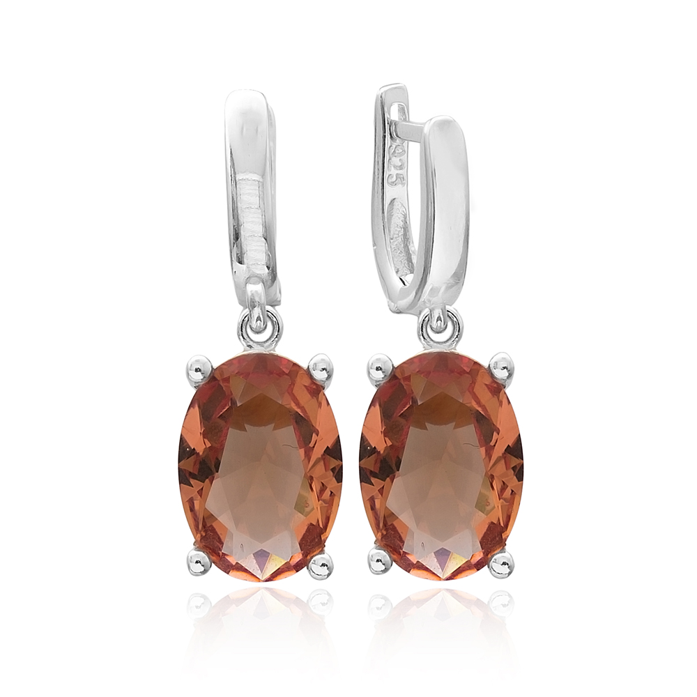 Fashionable Zultanite Stone Oval Shape Earrings Turkish Wholesale 925 Sterling Silver Jewelry