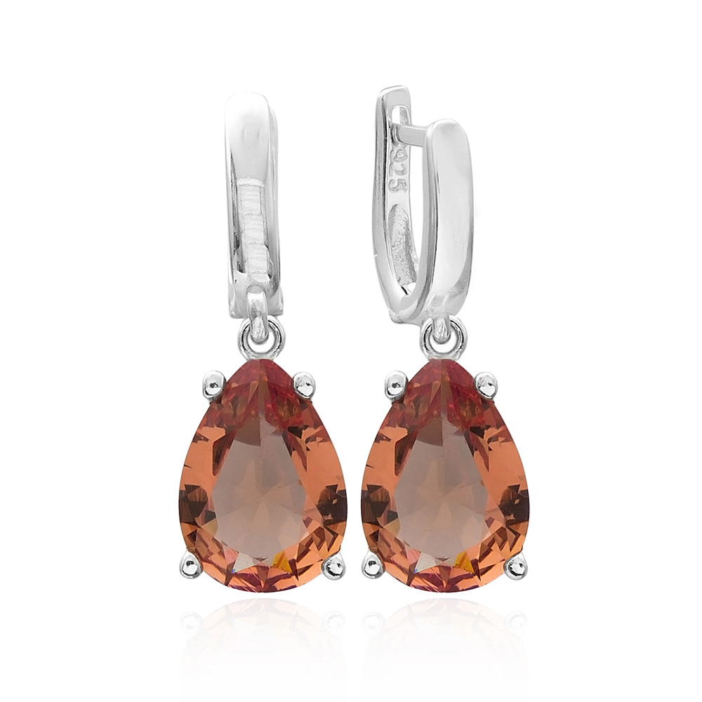 925 Sterling Silver Jewelry Zultanite Stone Drop Shape Earrings Turkish Wholesale