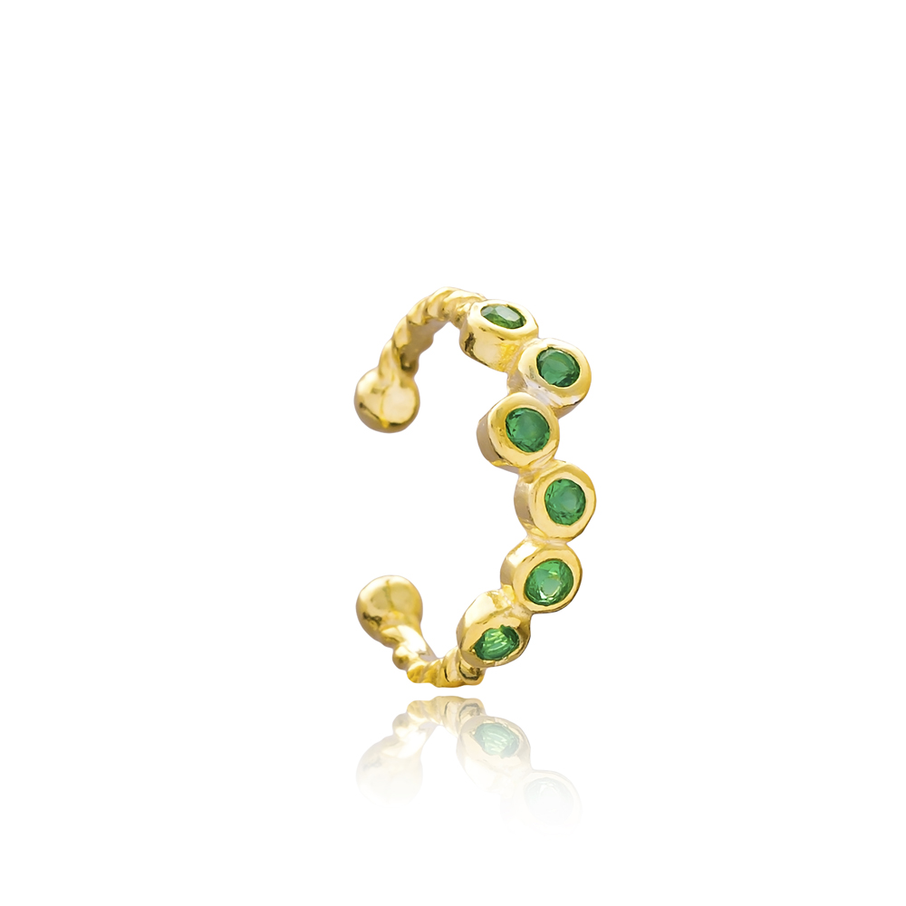Emerald Adjustable Cartilage Earring Wholesale Turkish 925 Silver Sterling Jewelry