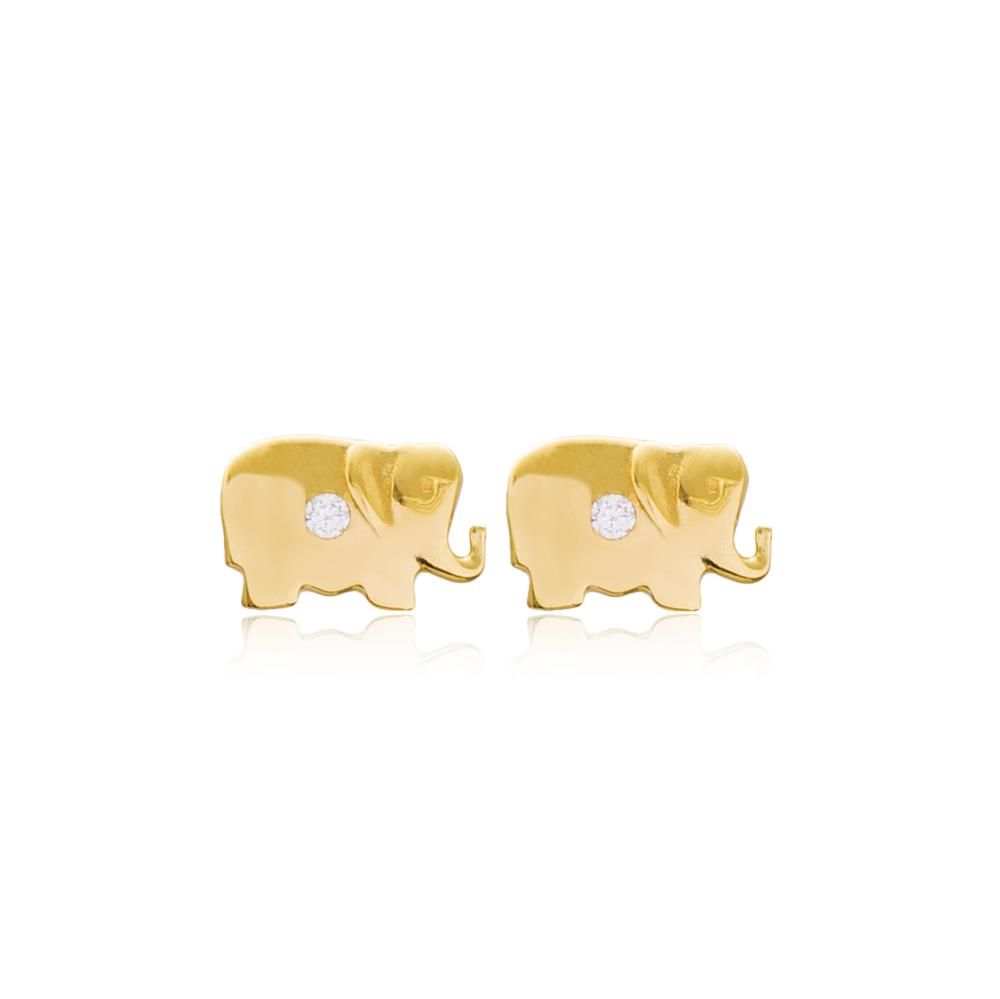 Elephant Design Stud Earring Turkish Handmade 925 Sterling Silver Jewelry