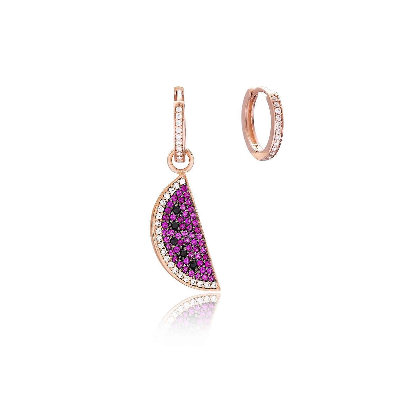 Fashion Ruby Watermelon Design 925 Sterling Silver Earring