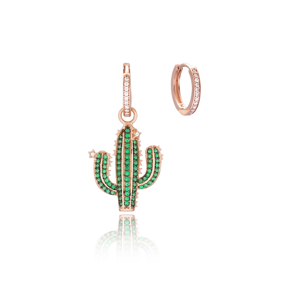 Green Cactus Design Handmade 925 Sterling Silver Earrings