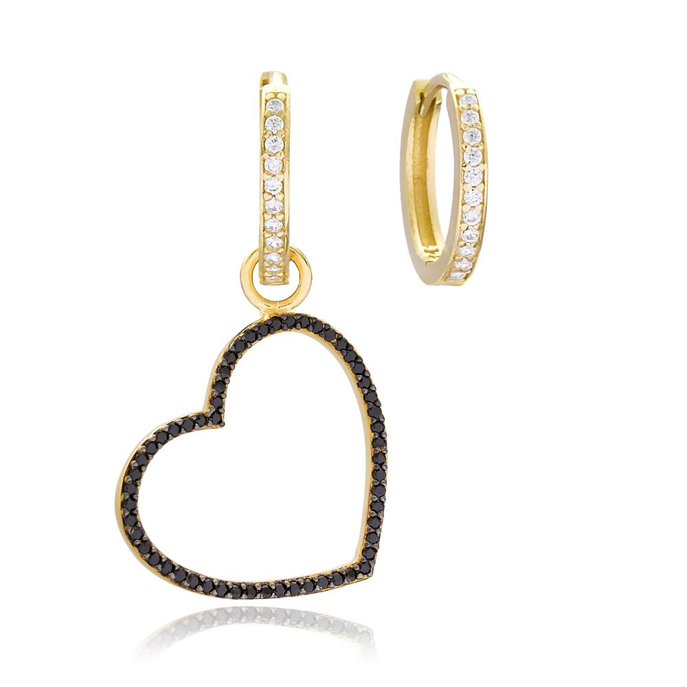 Heart Shape Earrings Handmade 925 Sterling Silver Jewelry