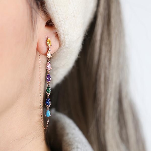 Mix Stone Single Long Earring Wholesale Handmade 925 Silver Sterling Jewelry