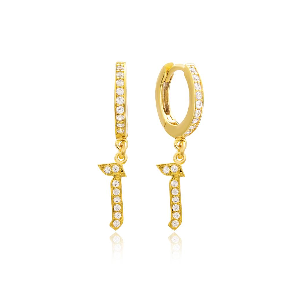 Vav Letter Hebrew Alphabet Wholesale Handmade 925 Sterling Silver Dangle Earrings