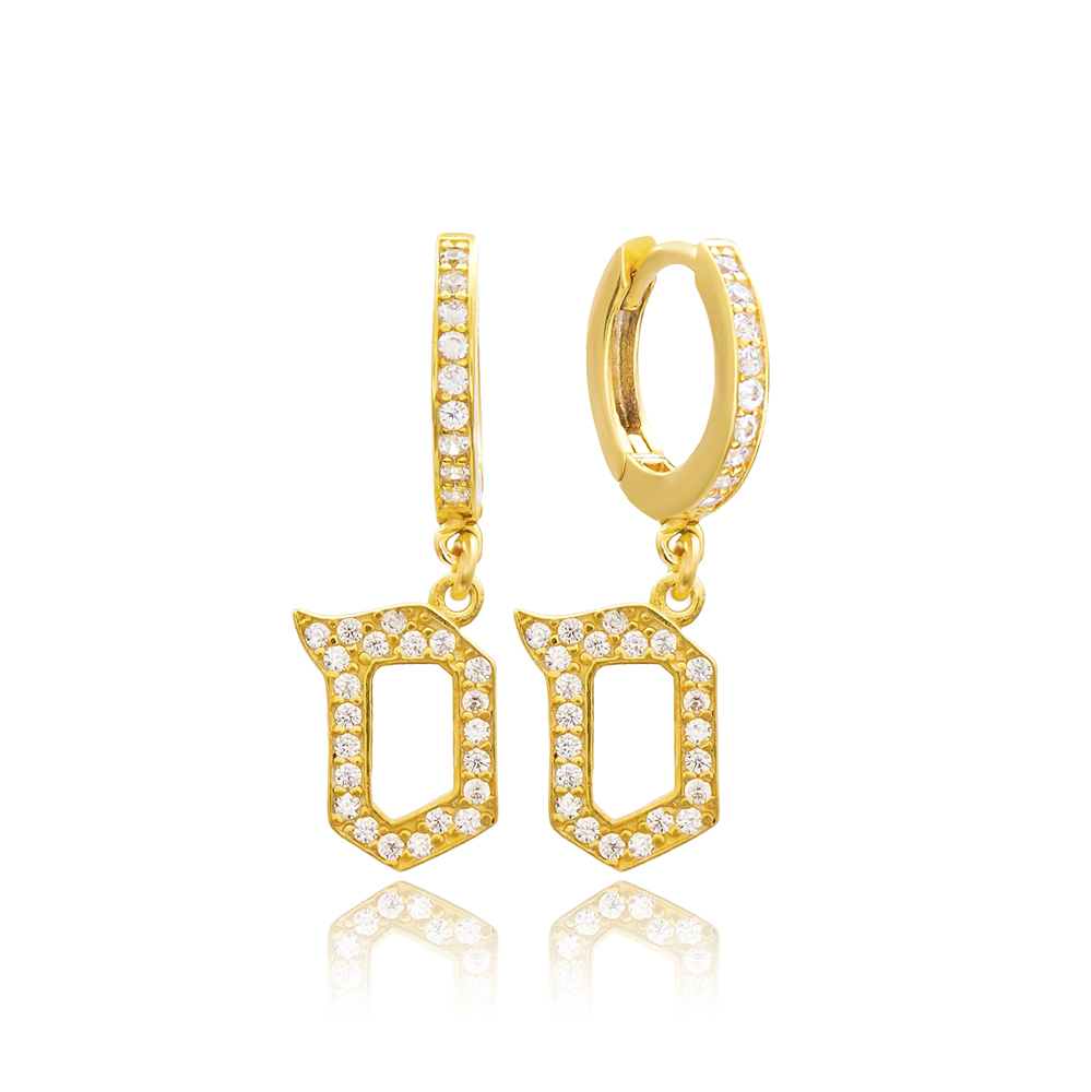 Samekh Letter Hebrew Alphabet Wholesale Handmade 925 Sterling Silver Dangle Earrings