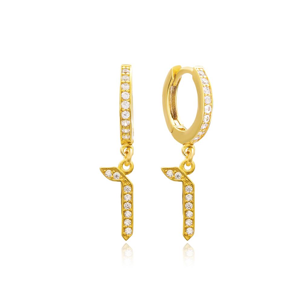 Zayin Letter Hebrew Alphabet Wholesale Handmade 925 Sterling Silver Dangle Earrings