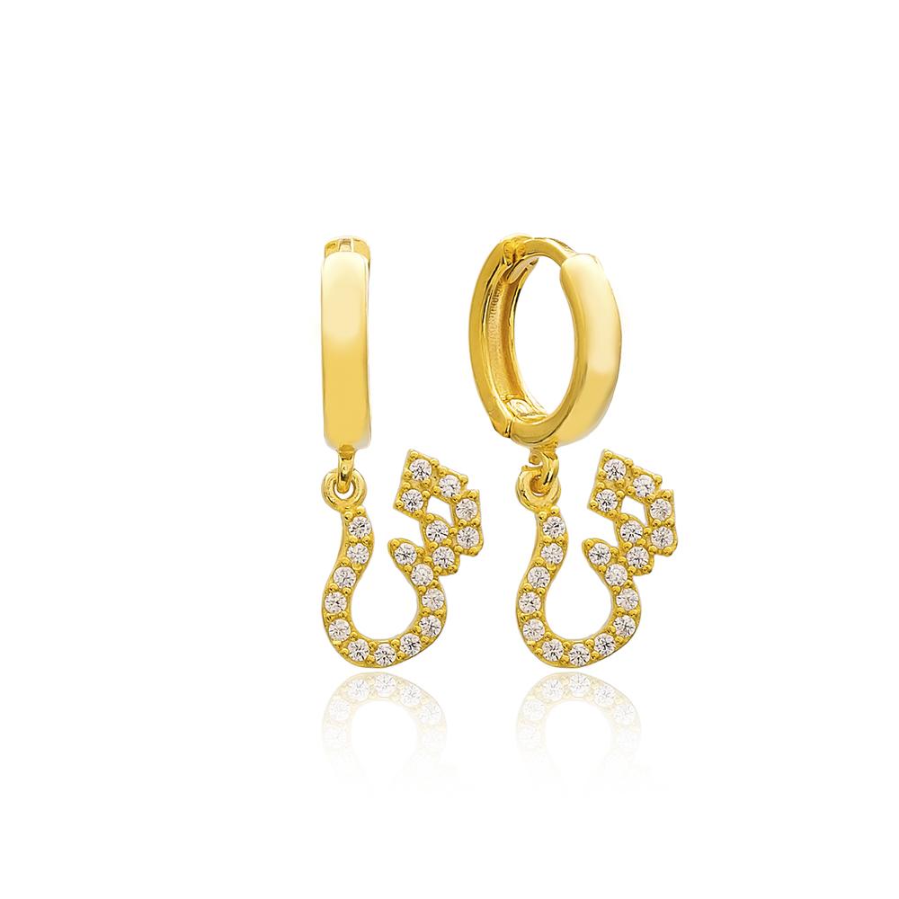 Shiin Letter Arabic Alphabet Wholesale Handmade 925 Sterling Silver Dangle Earrings