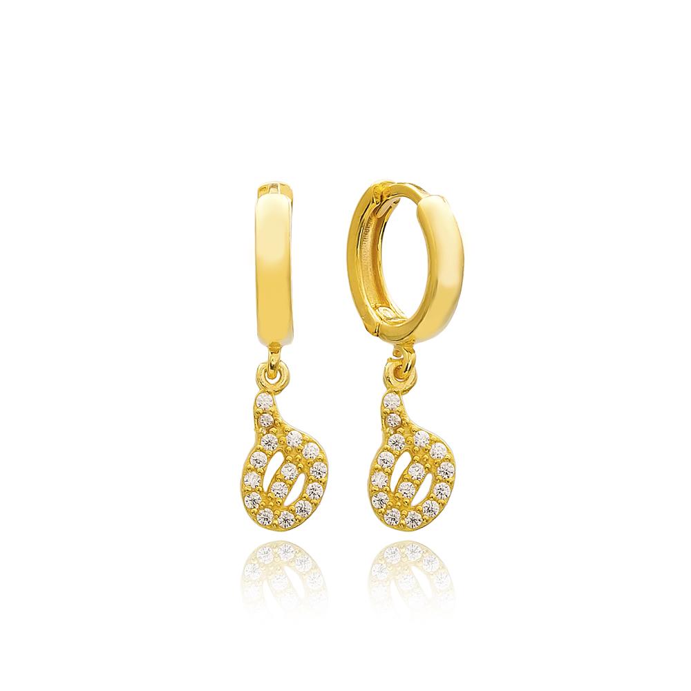 Haa Letter Arabic Alphabet Wholesale Handmade 925 Sterling Silver Dangle Earrings