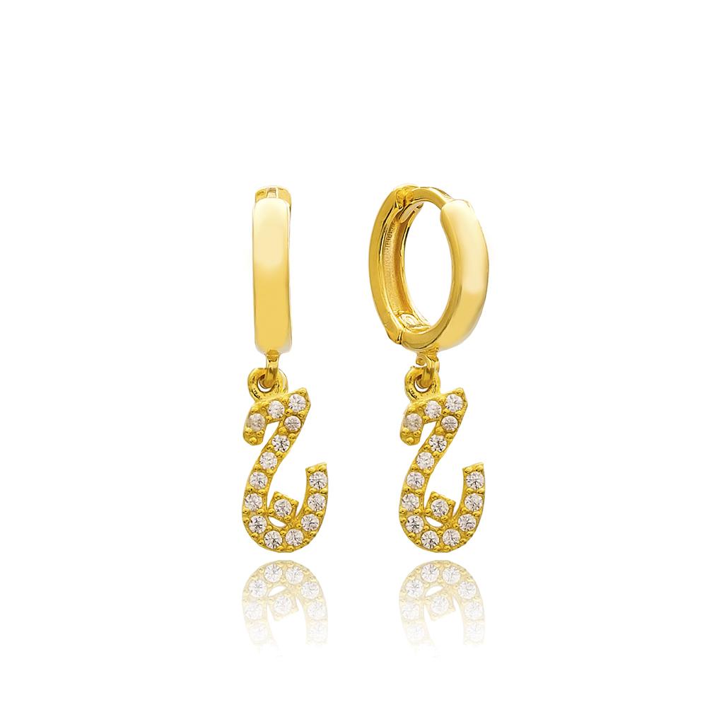 Jim Letter Arabic Alphabet Wholesale Handmade 925 Sterling Silver Dangle Earrings