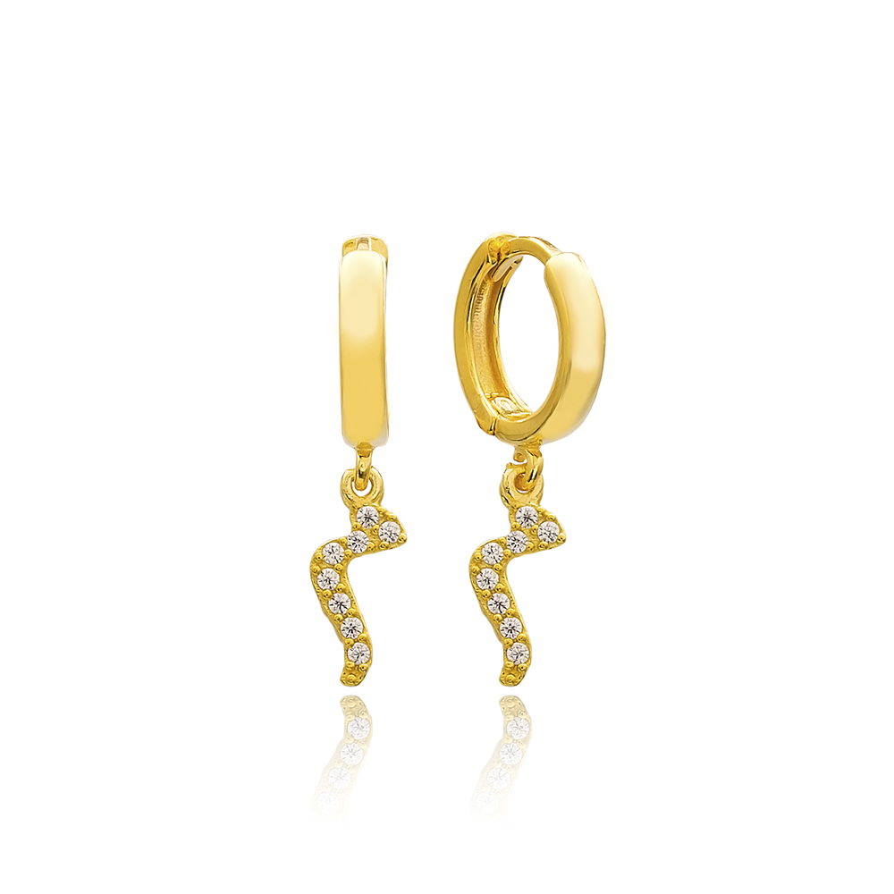 Miim Letter Arabic Alphabet Wholesale Handmade 925 Sterling Silver Dangle Earrings