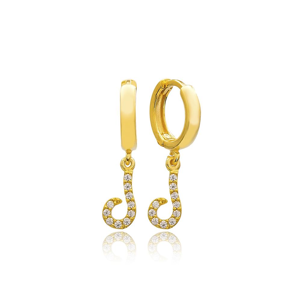 Laam Letter Arabic Alphabet Wholesale Handmade 925 Sterling Silver Dangle Earrings