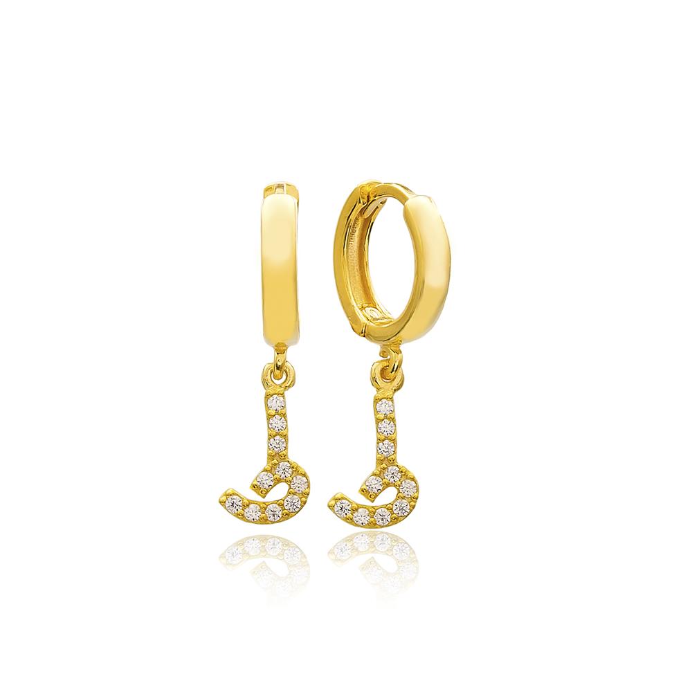 Taa Letter Arabic Alphabet Wholesale Handmade 925 Sterling Silver Dangle Earrings