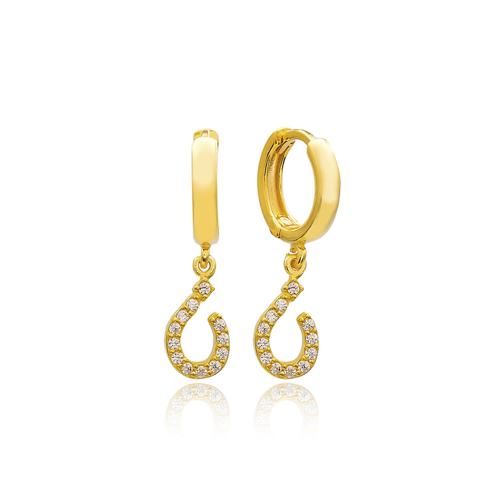 Nuun Letter Arabic Alphabet Wholesale Handmade 925 Sterling Silver Dangle Earrings