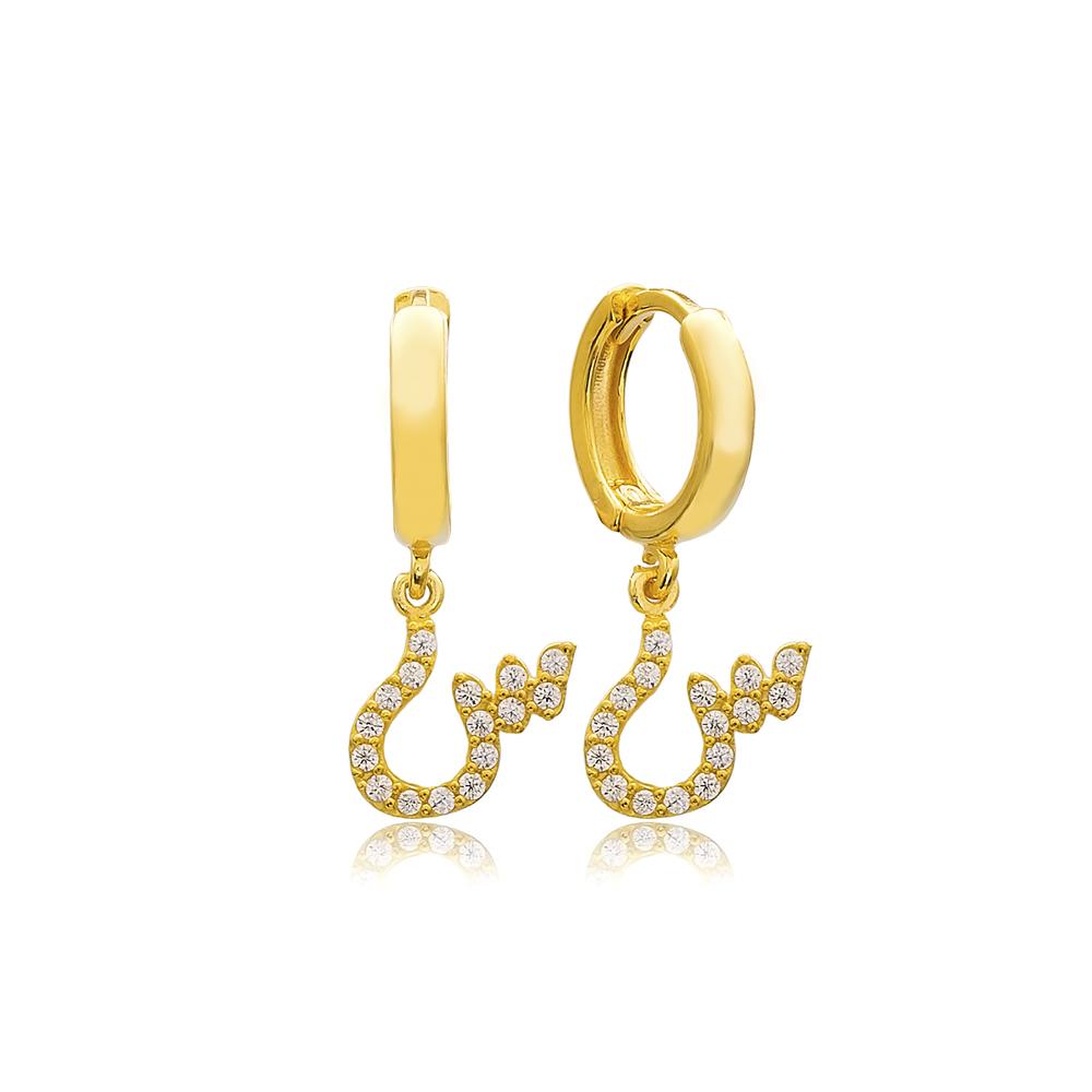 Siin Letter Arabic Alphabet Wholesale Handmade 925 Sterling Silver Dangle Earrings