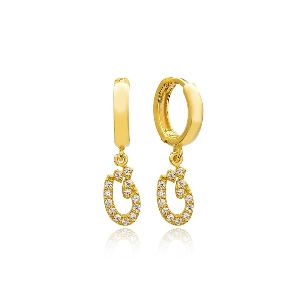 Qhaaf Letter Arabic Alphabet Wholesale Handmade 925 Sterling Silver Dangle Earrings