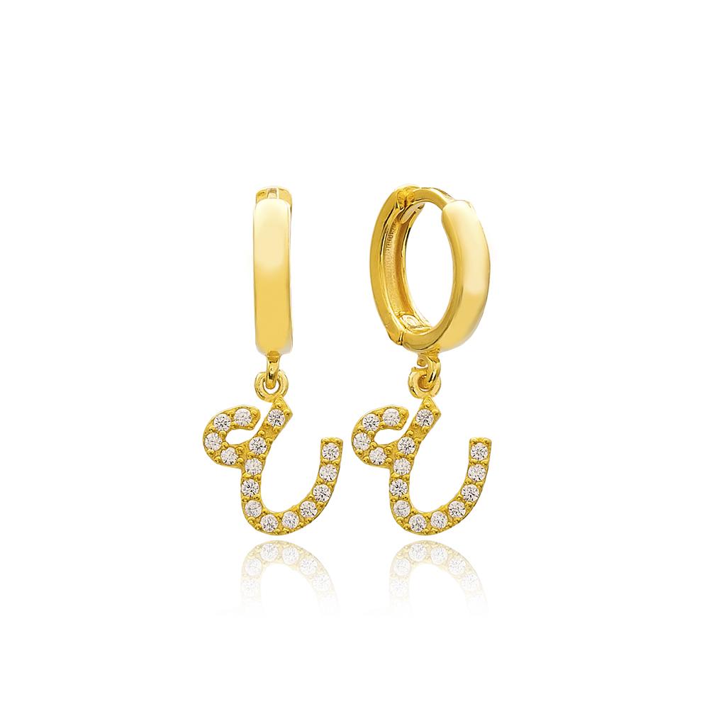 Ayn Letter Arabic Alphabet Wholesale Handmade 925 Sterling Silver Dangle Earrings
