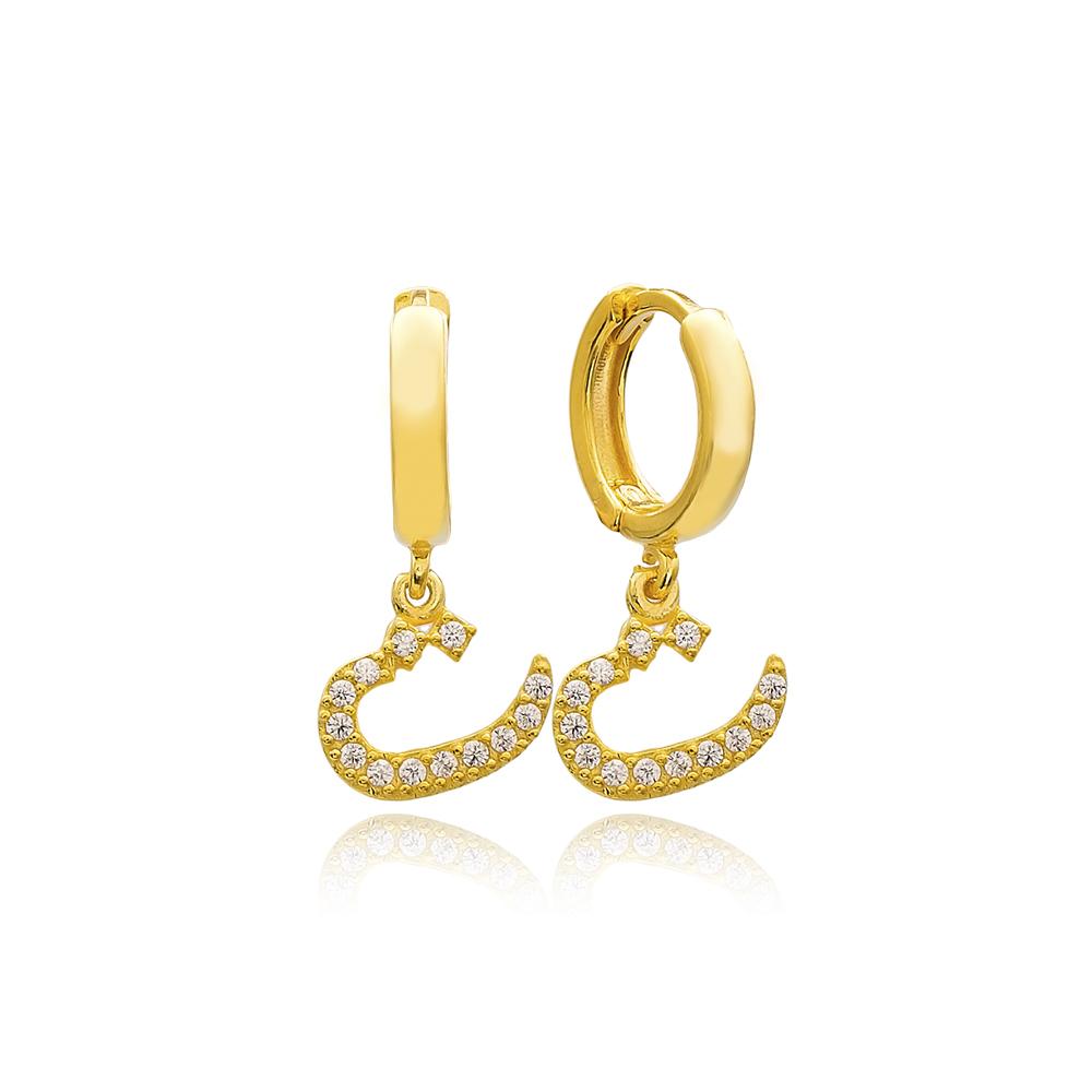 Te Letter Arabic Alphabet Wholesale Handmade 925 Sterling Silver Dangle Earrings