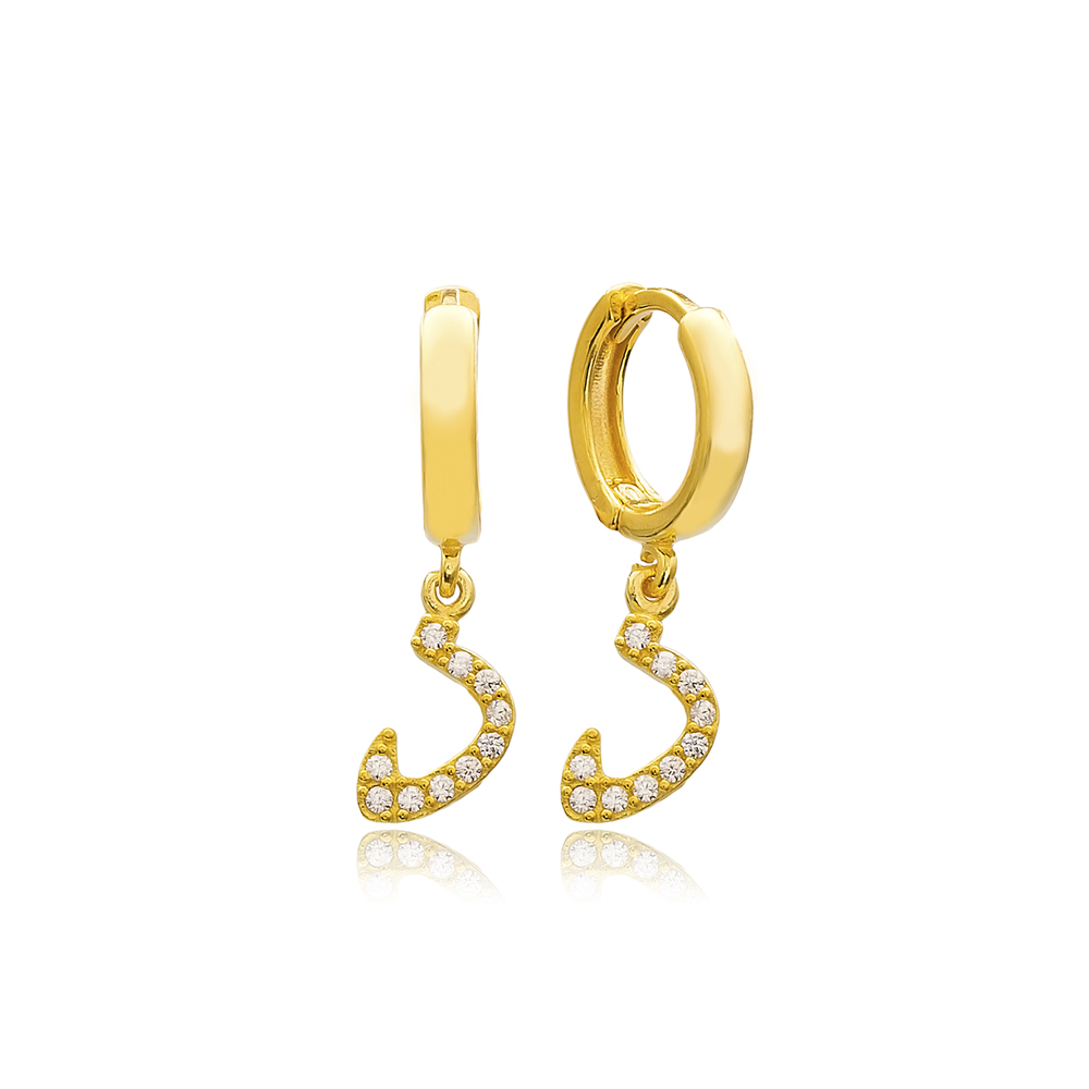 Daal Letter Arabic Alphabet Wholesale Handmade 925 Sterling Silver Dangle Earrings