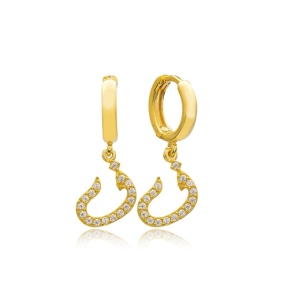 Faa Letter Arabic Alphabet Wholesale Handmade 925 Sterling Silver Dangle Earrings