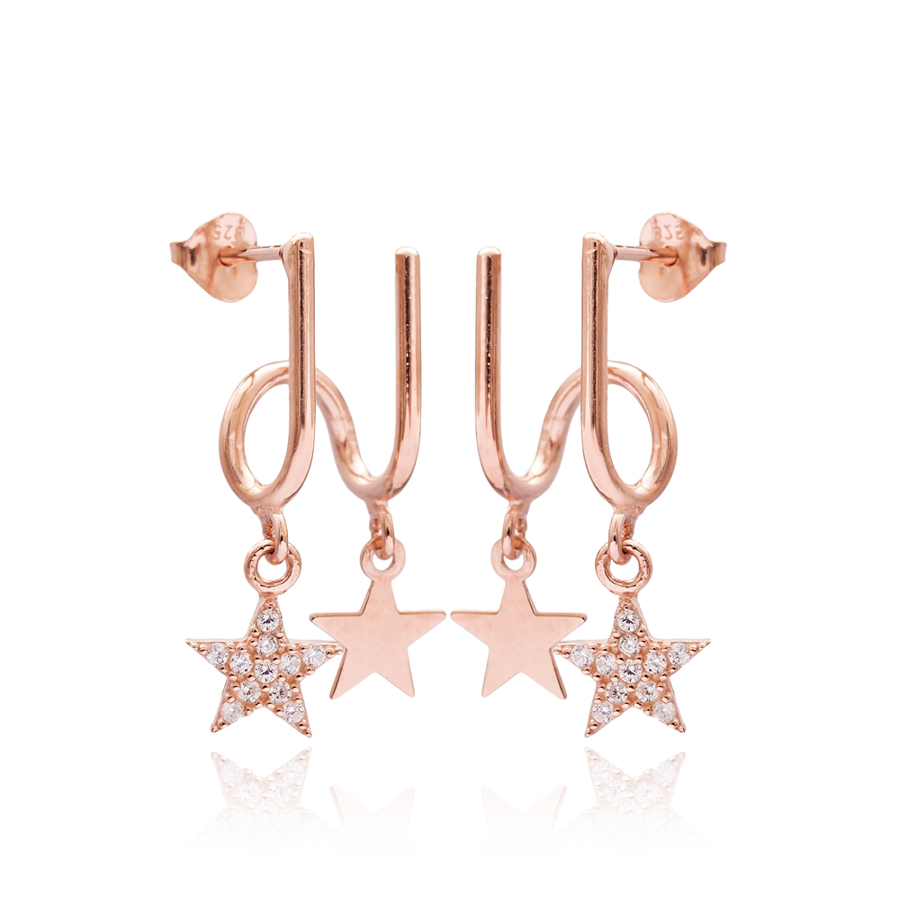 Elegant Star Design Two in One Earrings Wholesale 925 Sterling Silver Jewelry