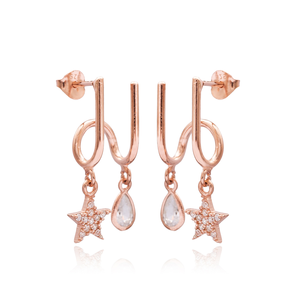 Star and Drop Design Two in One Earrings Wholesale Turkish 925 Sterling Silver Jewelry