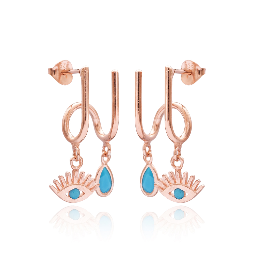 Turquoise Eye and Drop Design Two in One Earrings Wholesale Turkish 925 Sterling Silver Jewelry