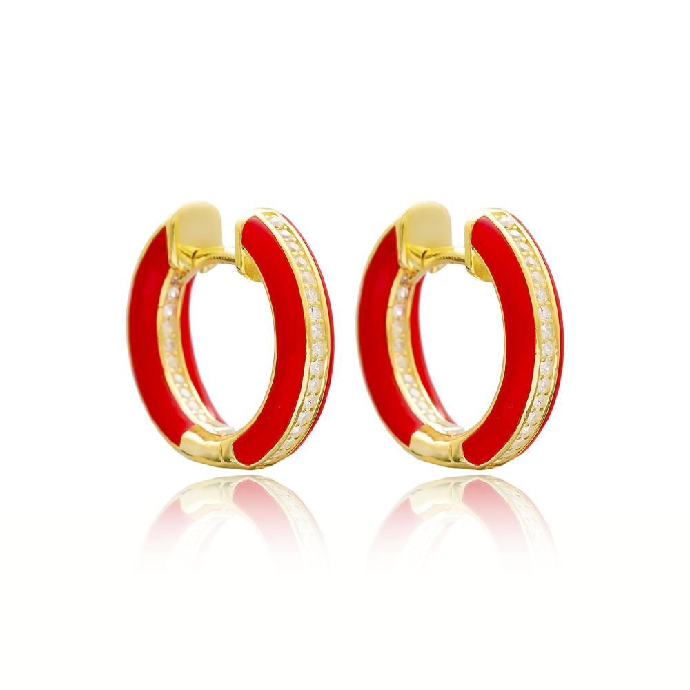 Red Enamel Zircon Stone Hoop Earrings Turkish Wholesale 925 Sterling Silver Jewelry