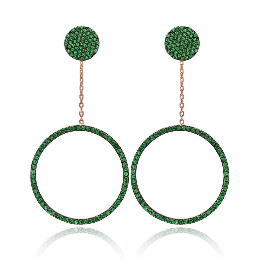 Emerald Stone Circle Dangle Earring Wholesale Turkish Sterling Silver Earring