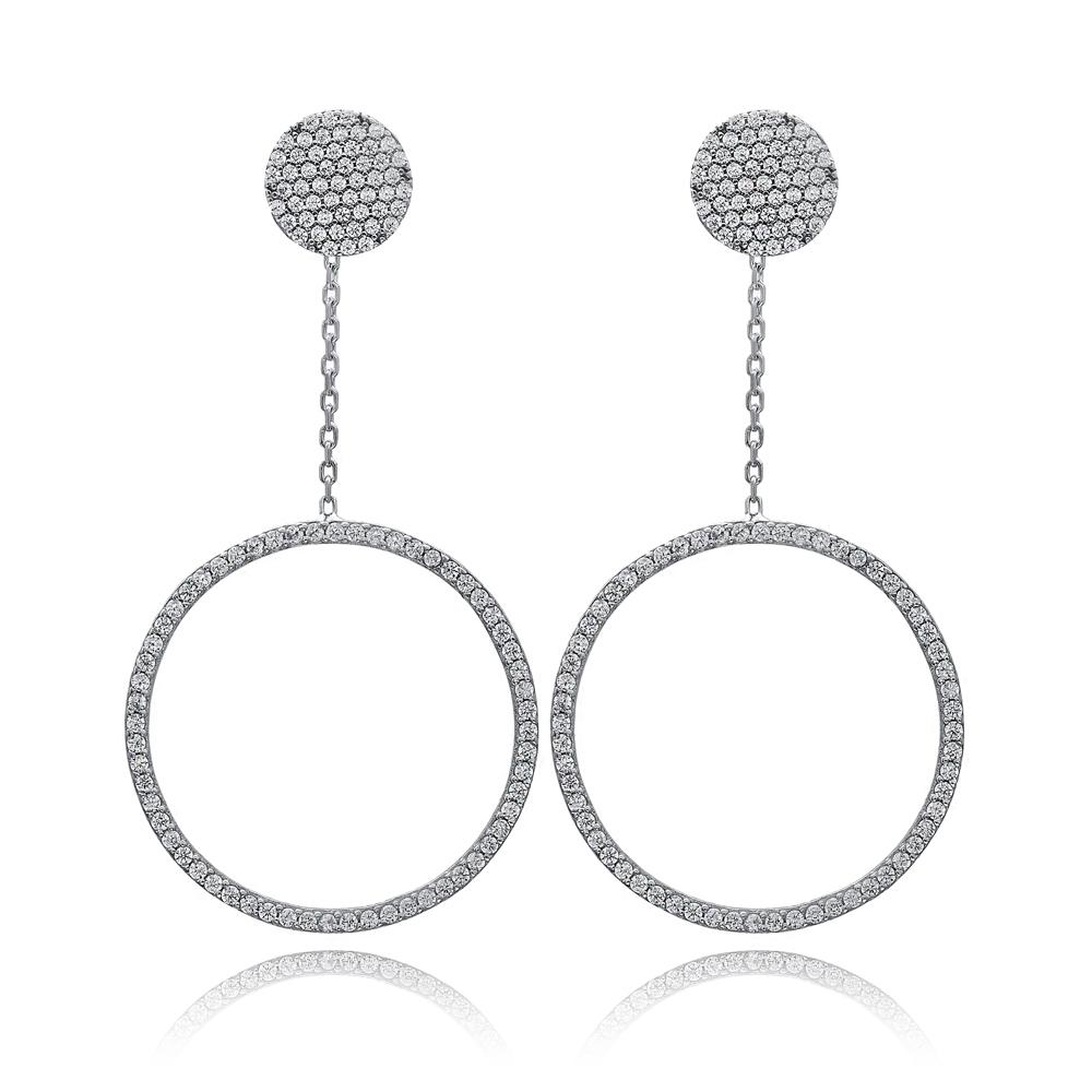 Circle Dangle Earring Wholesale Turkish Sterling Silver Earring