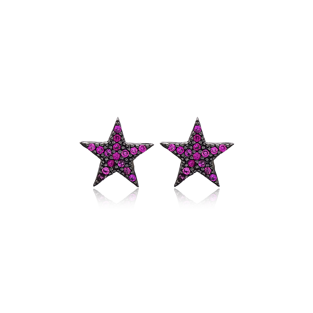 Ruby Stone Star Design Stud Earring Wholesale Handcrafted Sterling Silver Earring