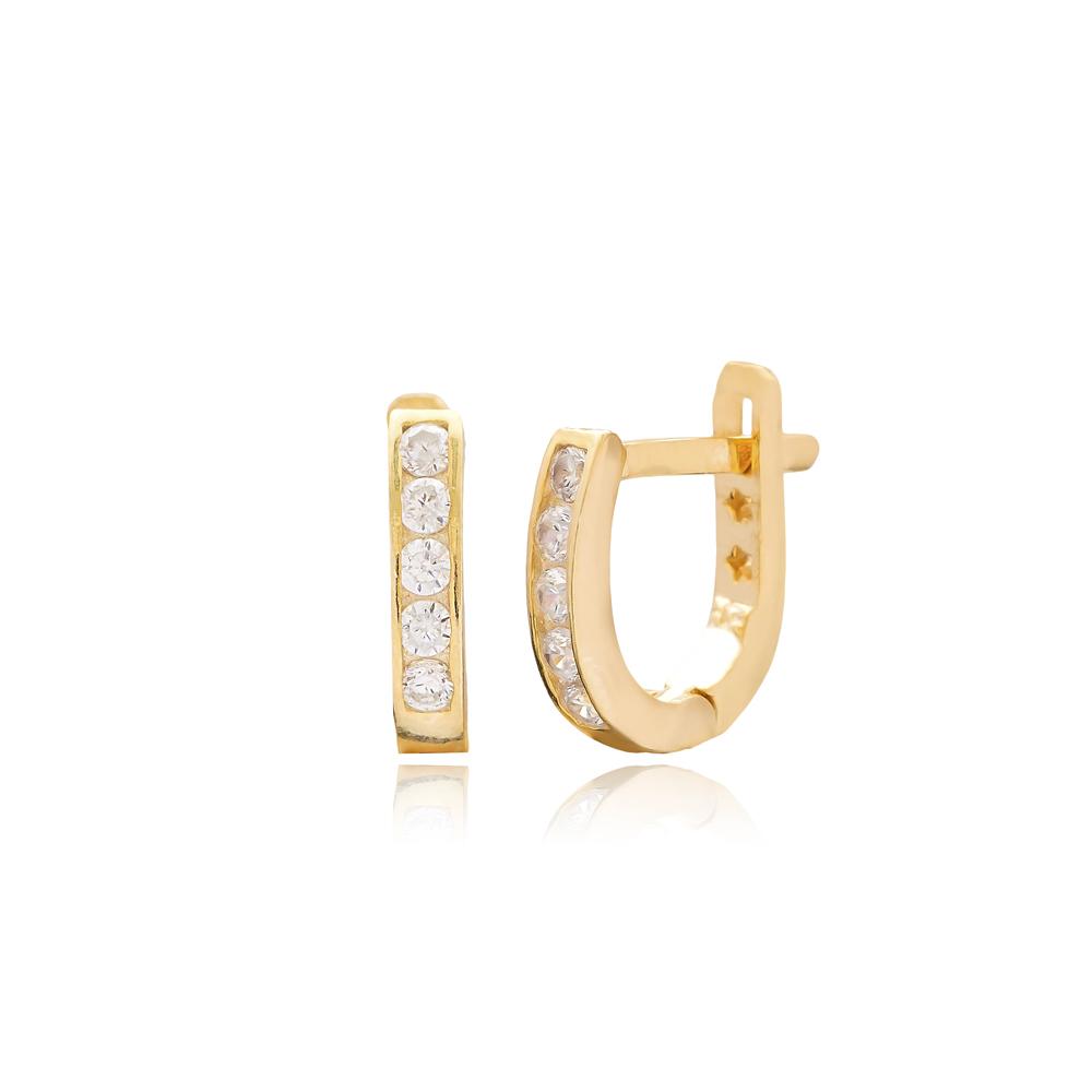 Zircon Stone New Design For Kid Earrings Turkish Wholesale Handmade 925 Sterling Silver Jewelry