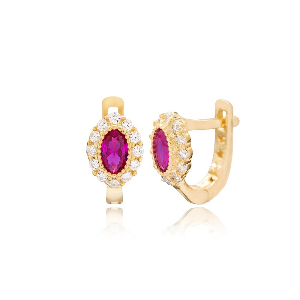 Ruby Stone Oval Shape For Kid Earrings Turkish Wholesale Handmade 925 Sterling Silver Jewelry