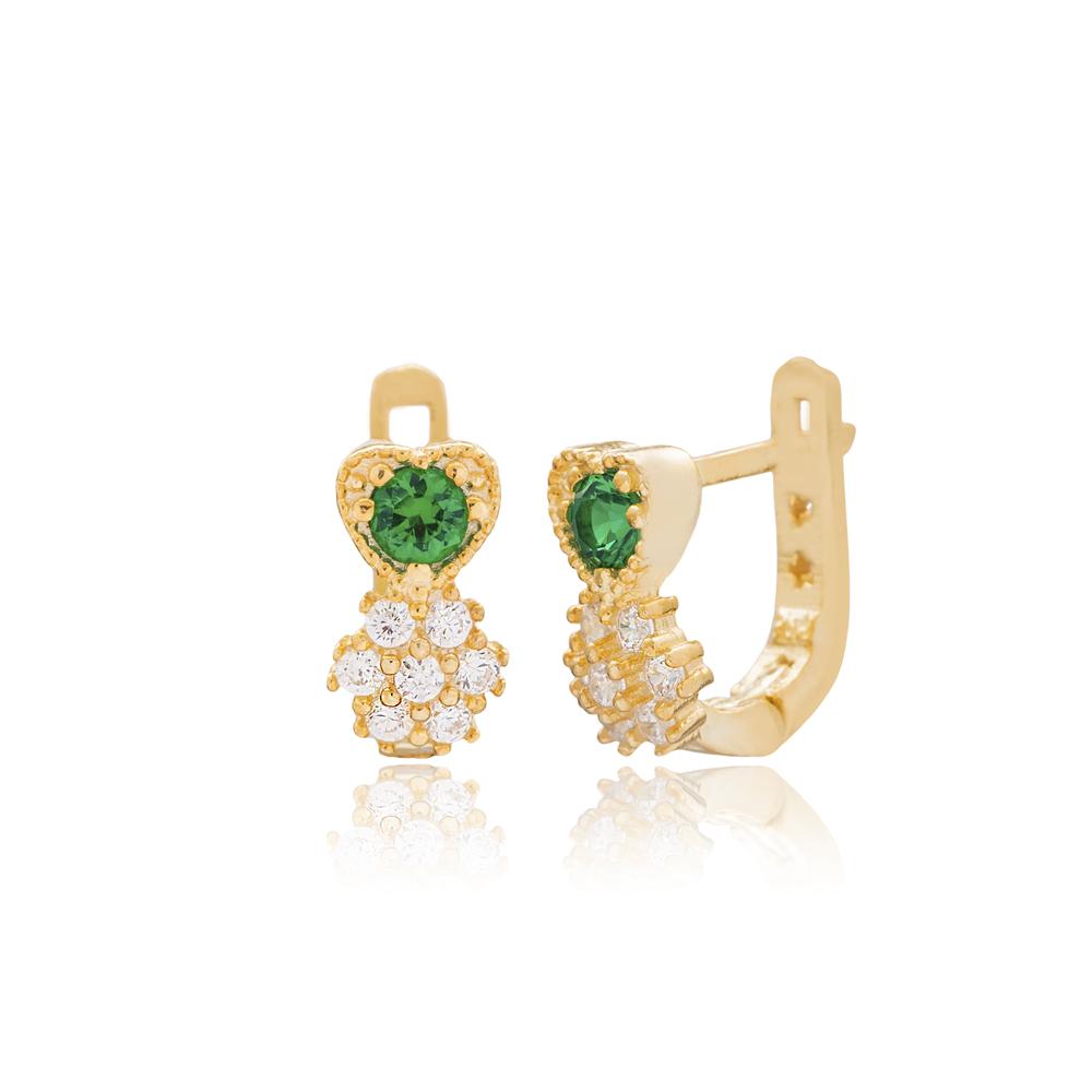 Pineapple Shape Emerald Stone For Kid Earrings Turkish Wholesale Handmade 925 Sterling Silver Jewelry