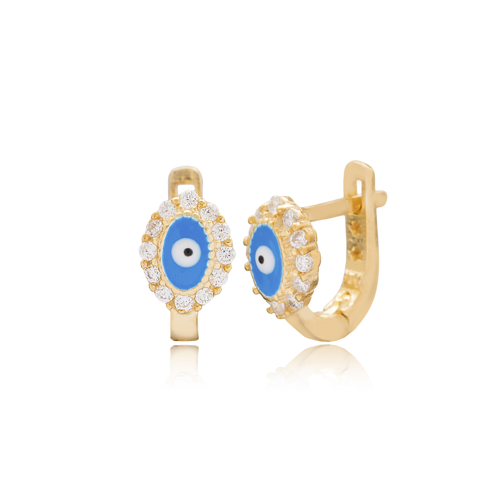 Round Shape Evil Eye Design For Kid Earrings Turkish Wholesale Handmade 925 Sterling Silver Jewelry