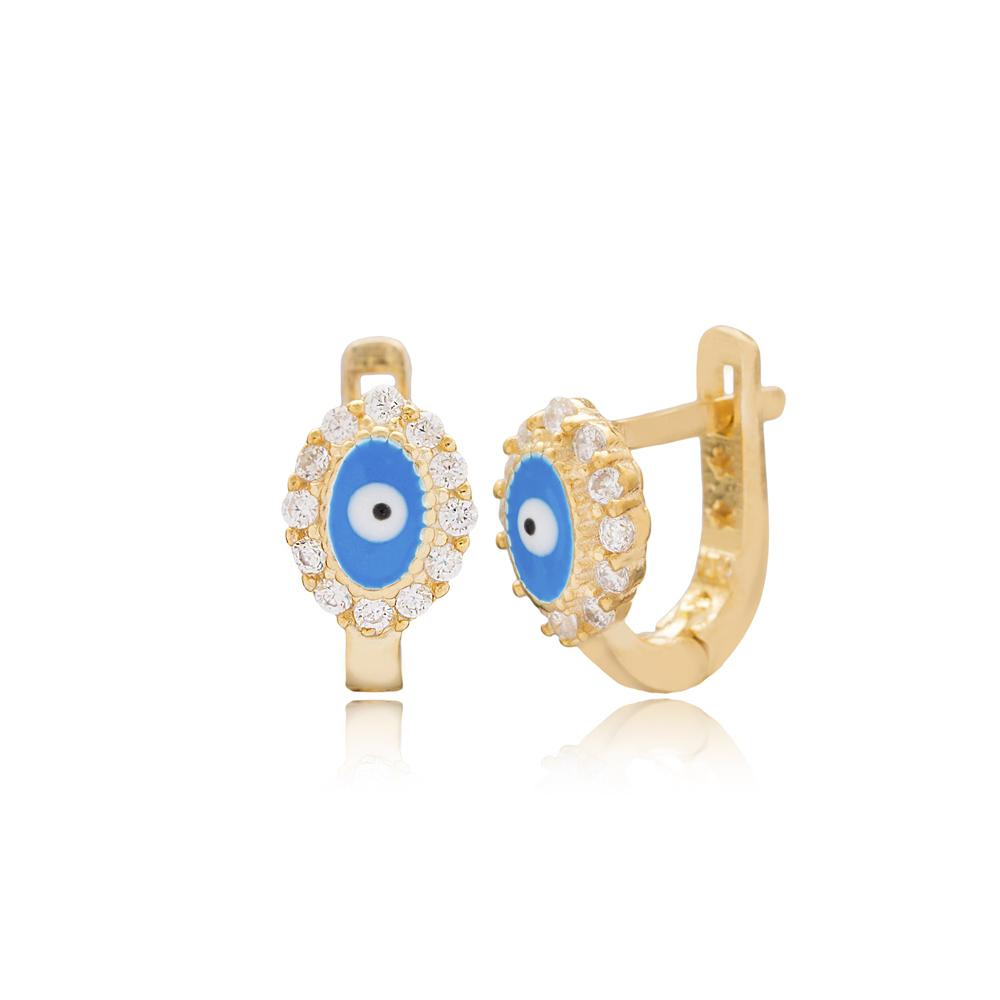 Round Shape Evil Eye Design For Kid Earrings Turkish Wholesale Handmade 925 Sterling Silver Jewelry